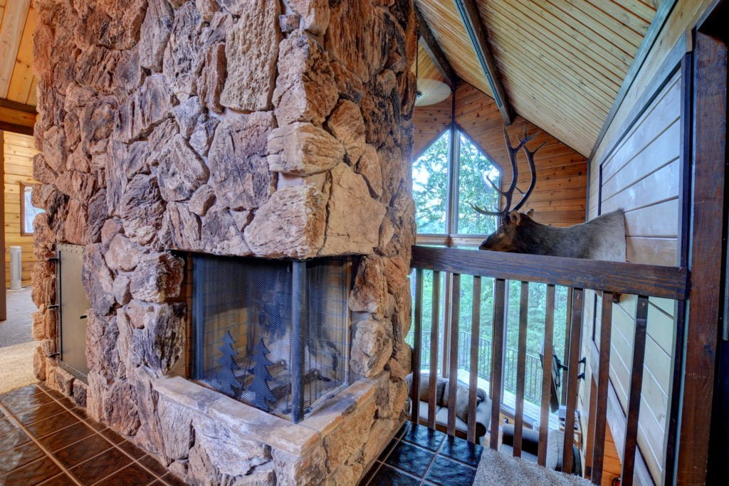The Treetops House Upstairs Fireplace