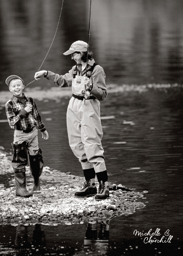 Michelle teases her son Churchill while fishing